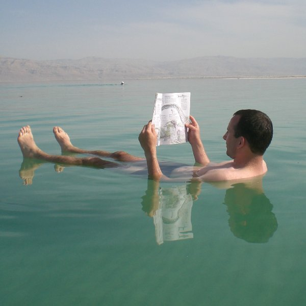 Having a float, Dead Sea, Jordan