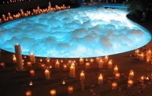 Bubbling swimming Pool and Candles